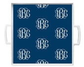 Personalized Melamine Tray with Repeating Monogram- Choose Background Color