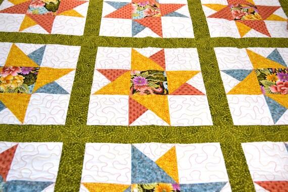 Baby Quilt, Star Quilt, Yellow, Orange, Blue, Green