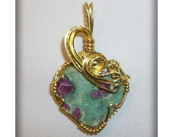 Ruby in Zoisite Wire Sculpted Pendant