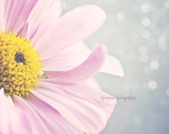Pink Flower Print, Pink and Gray Art, Pink Flower Photography, Daisy Photography Print, Pink Nursery Art, Pink and Yellow Wall Art