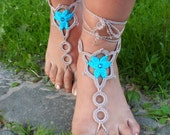 Barefoot sandals hand crochet pure cotton sexy  turquoise-brown