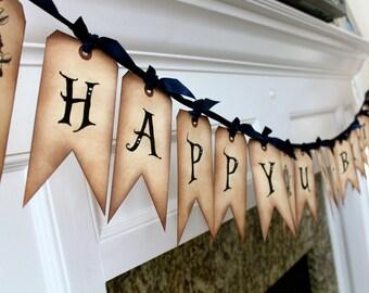 Vintage Inspired Alice in Wonderland Banner - HAPPY UN-BIRTHDAY