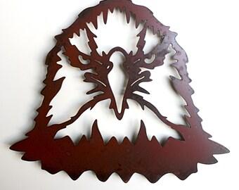 "Bald Eagle metal wall art - 16"" wide eagle head - wall hanging brown and rust patina"