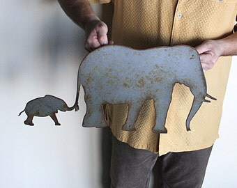 """Elephant metal wall art - 24"""" wide - wall hanging elephants -hammered grey with rust accents patina"""