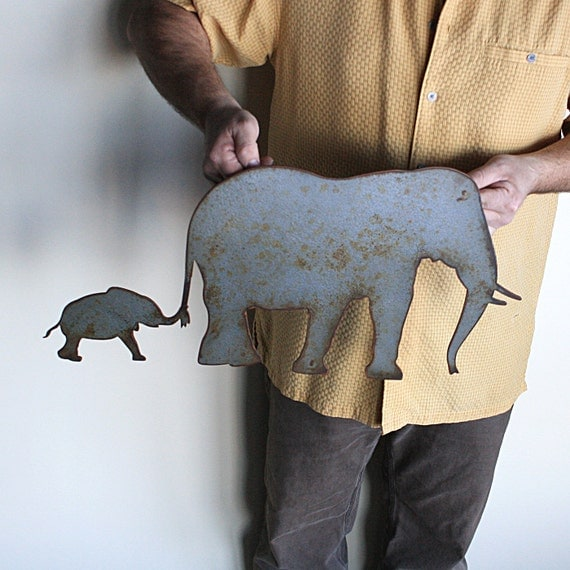 Metal Sculptures And Art Wall Decor: Elephant Metal Wall Art 24 Wide Wall Hanging