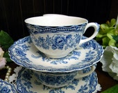 Crown Ducal Bristol Blue Teacup Tea Cup and Saucer Made in England 11793