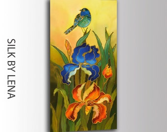 ORIGINAL  Painting- Silk Painting - Acrylic Painting-Watercolor Painting-Bird-Iris-Flower- 10inX20in