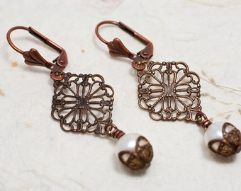 Brass Filigree Diamond Earrings