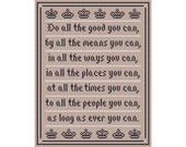 Do All The Good You Can Cross Stitch Sampler Chart