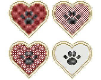 Set of Four PAW PRINTS on the HEART Cross Stitch Charts