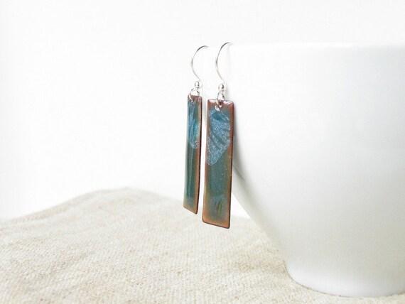Copper enamel earrings dangle drop teal blue green white jewelry fashion geometry. Rectangles. by Alery bioteam