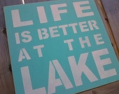 Life is better at the Lake handpainted wooden sign by Dressingroom5