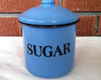 Vintage Enamelware Sugar Container with Lid