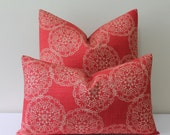 Duralee Danda Floral Suzani Block Print by John Robshaw in Saffron/Red-Orange - Square and Lumbar Size Pillow Cover
