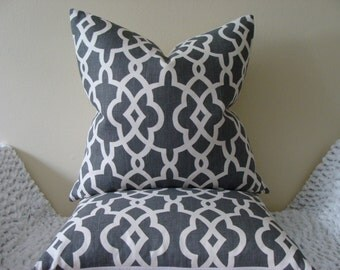 """Schumacher Summer Palace Fret in Smoke -18"""", 20"""" or 22"""" Square Decorative Designer Pillow Covers"""