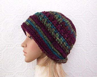 Crochet Cloche Beanie in plum, green, teal mix - Women's Winter Accessories Winter Fashion handmade by Sandy Coastal Designs ready to ship