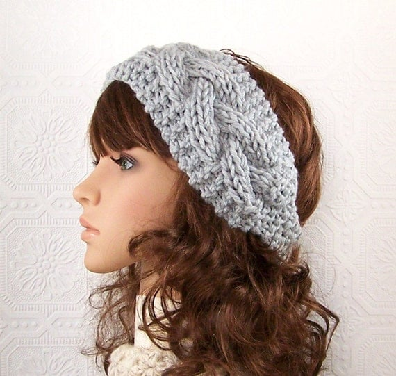 Hand knit headband headwrap ear warmer - light gray or your color - handmade Winter Fashion - Winter Accessories by Sandy Coastal Designs
