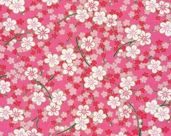 Japanese Chiyogami Yuzen - approx A4 bright pink flowers