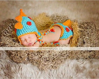 Newborn dino hatchling diaper   cover hat set crochet Newborn photo props photography boy girl