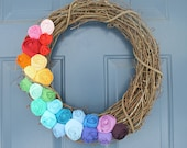 The Rainbow Wreath - Made to Order - Fabric Rose Grapevine Wreath - 18 inch