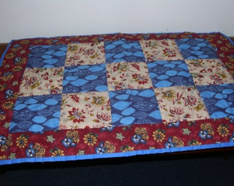 """Quilted Table Runner, Table Topper, Patchwork Table Quilt, Doll Quilt, Blue & Red Small Quilt, 18"""" x 27-1/2"""" / Hand-Quilted / Bold Colors"""
