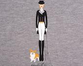 Equestrian Ladies T-shirt w/corgi