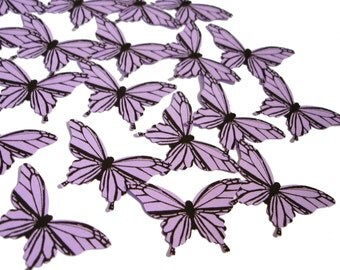 20 Purple Lavender Butterfly scrapbook embellishments - No796