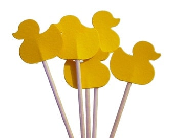 24 Yellow Duckies Duck Cupcake Toppers, Baby Shower Decorations - No478