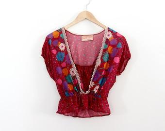 1980s floral crop top, Apple Corp blouse