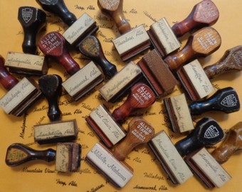 Sweet Home ALABAMA, Vtg Allen Wooden Handle Rubber Stamps, U Pick 1 of 16 cities, intact, lovely old school cursive, STAMP & Display