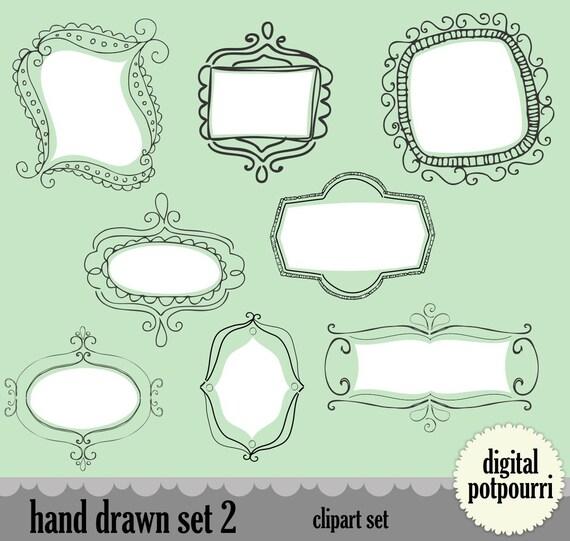 buy2get1 doodle digital frames labels for scrapbooking - hand drawn frames 16 pc