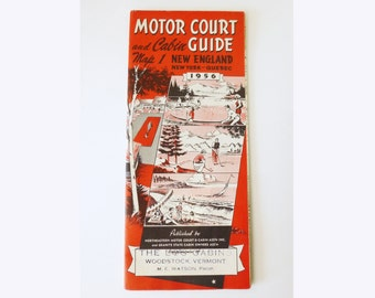 1956 Motor Guide Court Map of New England