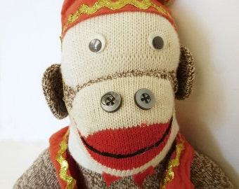 1940's Sock Monkey with vest and hat embellished with gold ricrac