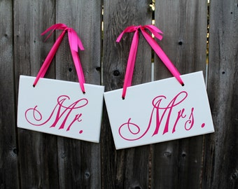 """6"""" x 10"""" Wooden Wedding Sign: 2pc Set Single or Double sided - Mr. & Mrs. and Thank You"""