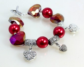 Red and Silver Hearts Bracelet, Love, Valentines Day
