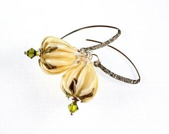 Lampwork Earrings, Tulip, Easter, Spring, Sterling Silver