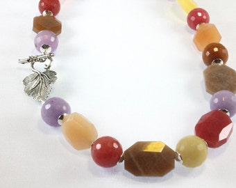 Multicolor Agate Necklace, Bead Necklace, Fall Colors