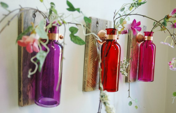 Tropical sunset wall decor collection of colored bottles each for Colored bottles for decorations