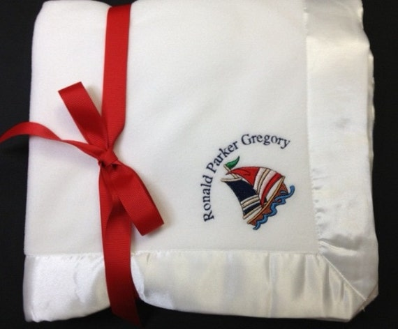 Nautical Baby Blanket w/Satin Trim for Boy or Girl with Personalization and Custom Monogramming