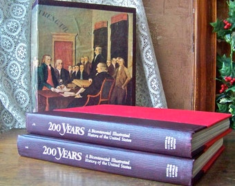 Vintage History Books 200 Years Collectors Set Bicentennial Illustrated History of the US American History Homeschool History Buff 1973