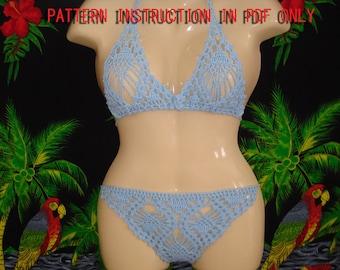 Crochet instruction Pattern for bikini and top , swimwear, swimsuit.