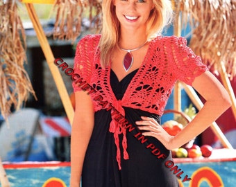 Woman Crochet Bolero Pattern only with written instruction and diagram's Very easy to follow in PDF FILES
