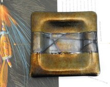 Kurt McVay Iridescent Dicro Art Glass/Ashtray - Gold/Blue