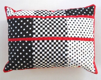 Red, Black, White Quilted Pillow Sham & Pillow