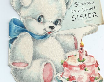 Vintage Greeting Card - Happy Birthday White Flocked Teddy Bear Blue Bow Cake Sister