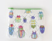 Felted Machine Embroidered White Change Purse Wallet Beetles