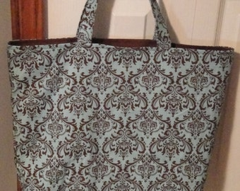 Reuseable Tote/Grocery Bag Gorgeous Brown & Aqua Damask Fabric