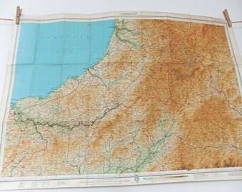Cardigan map, large vintage map, Wales Map, Welsh map, Vintage Bartholomew's map