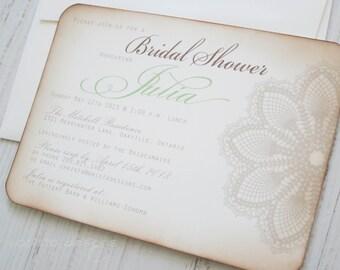 Vintage lace bridal shower invitation - Lace doily - set of 10