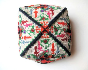 Chinese Uygur Cap, Hat, Multicolor Needlepoint Woolen Embroidery